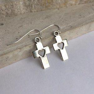 Sterling Silver Cross w/ heart cut out Earrings